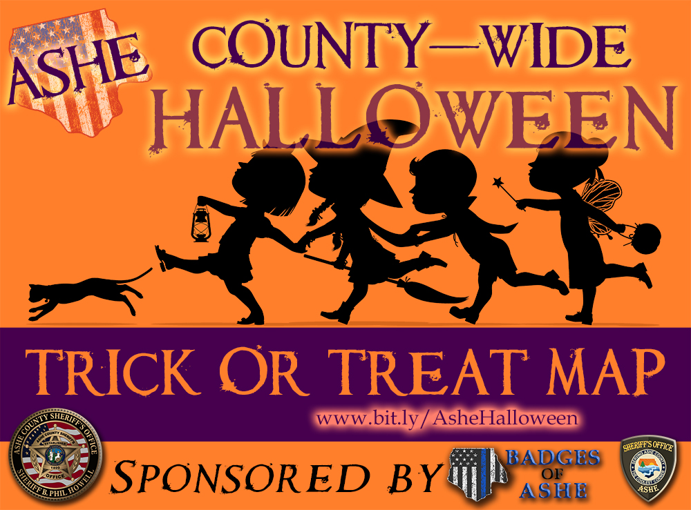 Ashe Sheriff Halloween Trick Or Treat Map